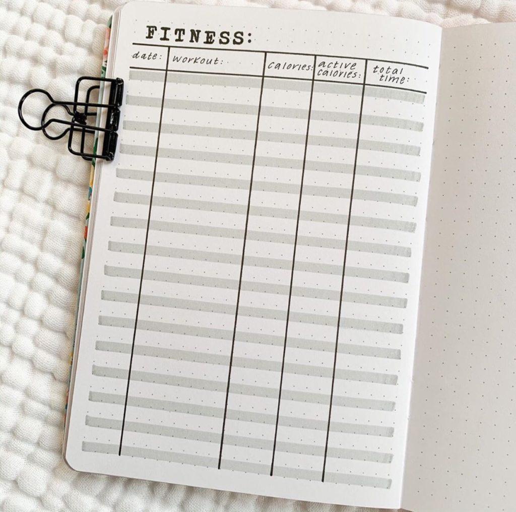bullet journal fitness tracker