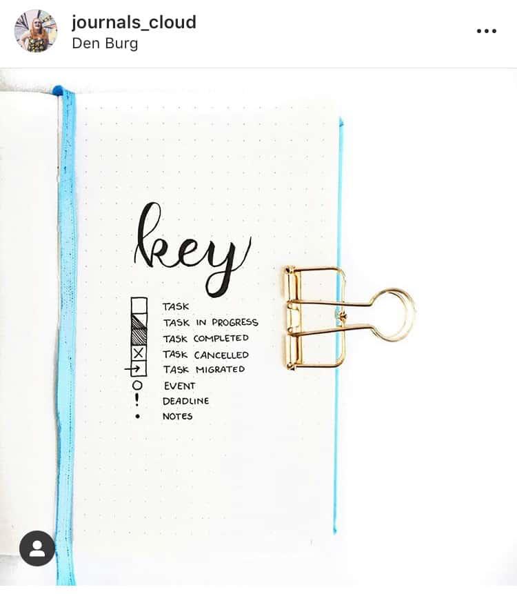 idée bullet journal minimaliste - clé