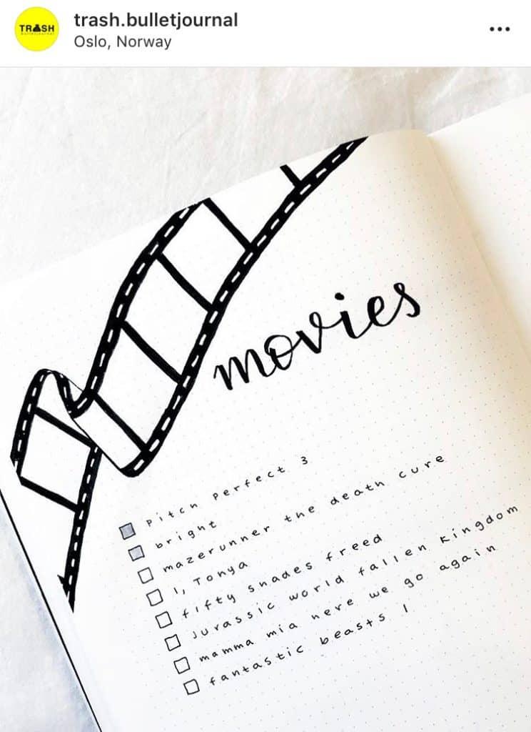idée bullet journal minimaliste liste de films favoris