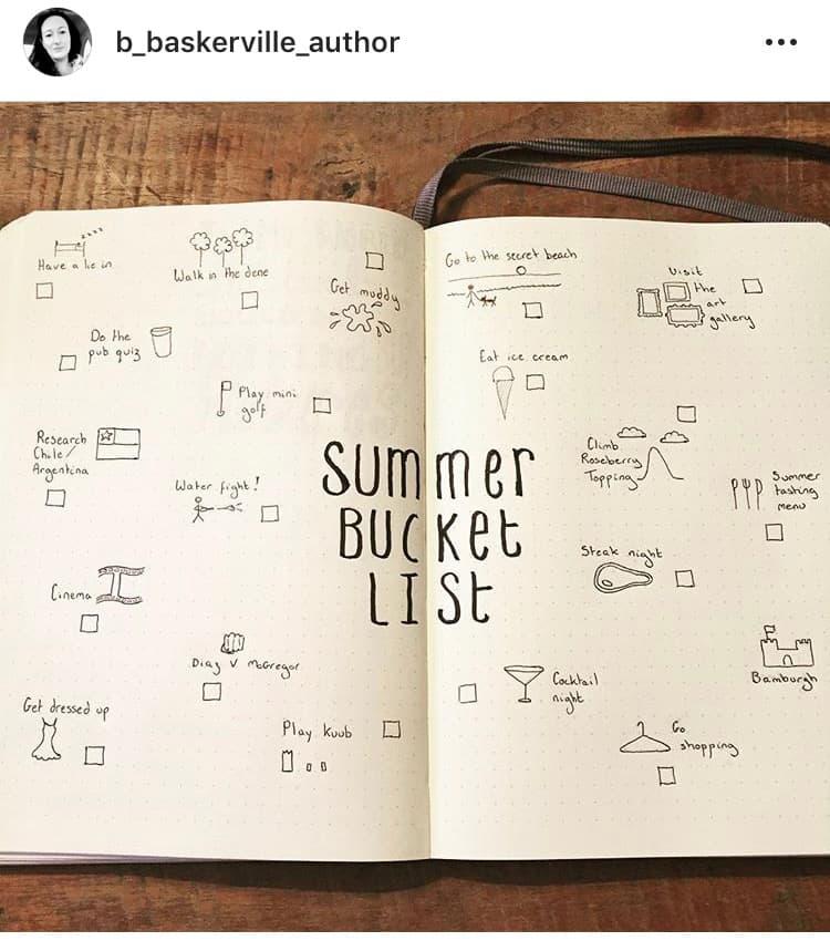 idée bullet journal minimaliste bucket list été
