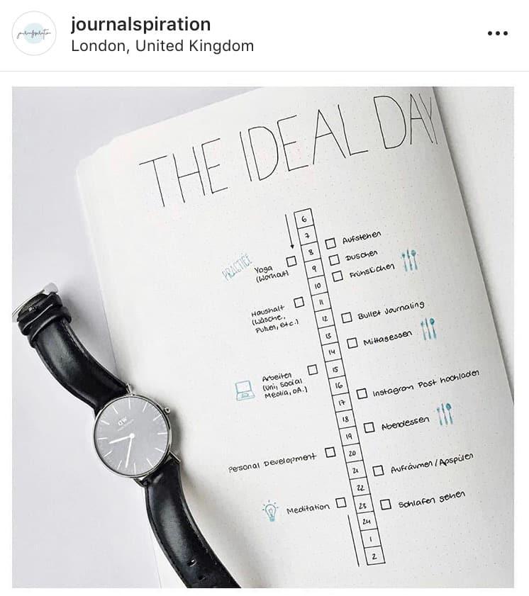 idée bullet journal minimaliste planning quotidien