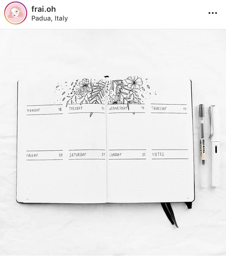 idée bullet journal minimaliste planning hebdomadaire