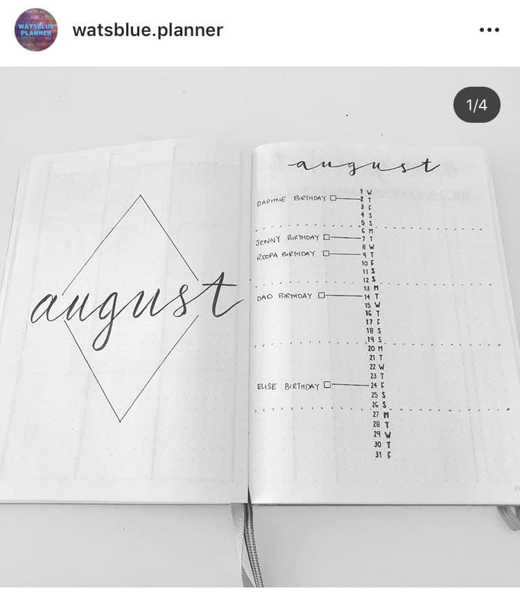 idée bullet journal minimaliste planning mensuel Août