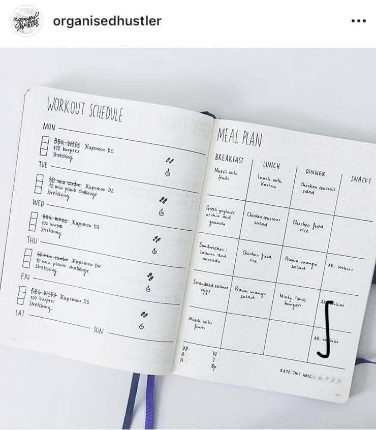 idée bullet journal minimaliste - menu et planner d'entrainement