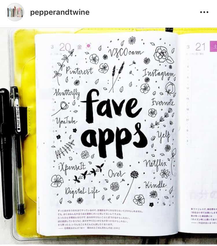idée de bullet journal minimaliste applications favorites