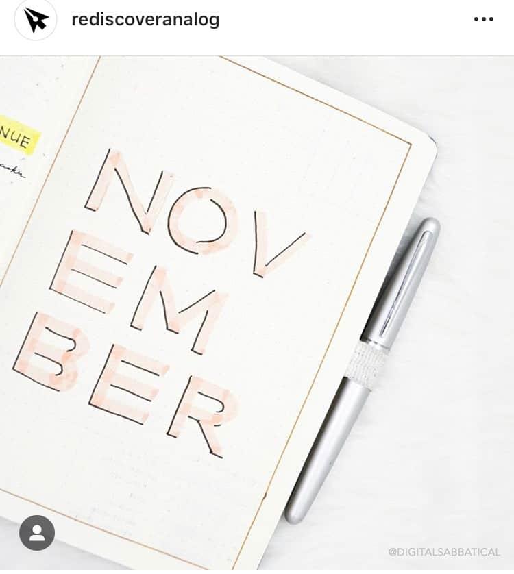 idée bullet journal minimaliste couverture novembre